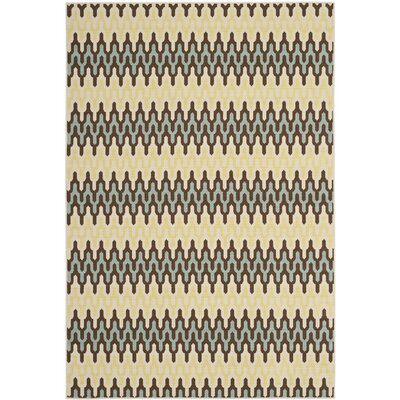 Hampton Grey/Ivory Outdoor Area Rug Rug Size: 51 x 77