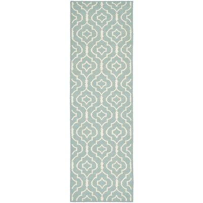 Dhurries Light Blue/Ivory Area Rug Rug Size: Runner 26 x 8