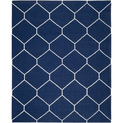 Dhurries Navy/Ivory Area Rug Rug Size: 8 x 10