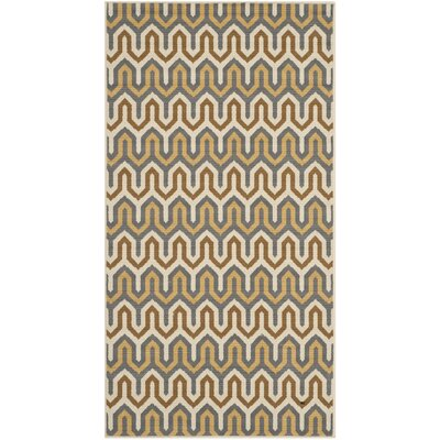 Kelston Brown/Camel Chevron Outdoor Area Rug Rug Size: Rectangle 27 x 5