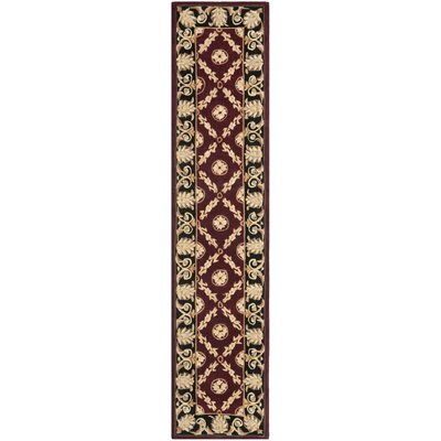 Naples Burgundy/Black Area Rug Rug Size: Runner 2'3