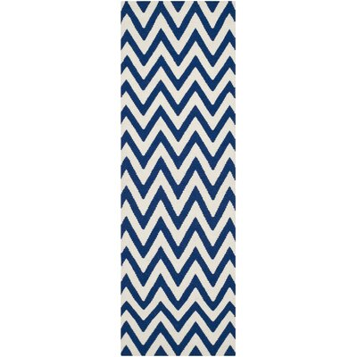 Dhurries Dark Blue/Ivory Area Rug Rug Size: Runner 2'6