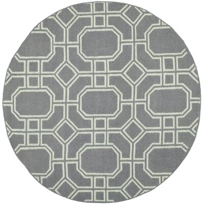 Dhurries Grey/Light Blue Area Rug Rug Size: Round 6
