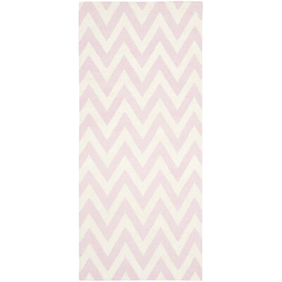 Dhurries Pink & Ivory Area Rug Rug Size: Runner 26 x 10