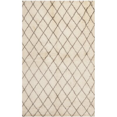 Loft Hand-Knotted Wool Beige Area Rug Rug Size: Rectangle 6 x 9