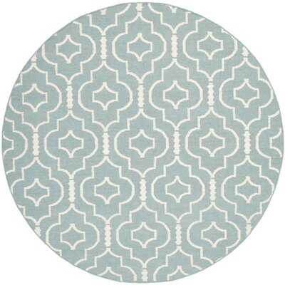 Masaryktown Hand-Woven Wool Light Blue/Ivory Area Rug Rug Size: Round 6