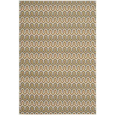 Hampton Brown/Camel Chevron Outdoor Area Rug Rug Size: 4 x 6