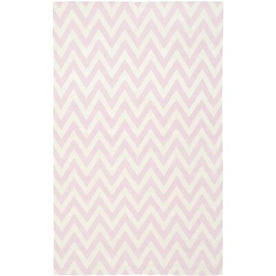 Dhurries Pink & Ivory Area Rug Rug Size: 5 x 8