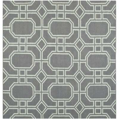 Dhurries Grey/Light Blue Area Rug Rug Size: Square 6