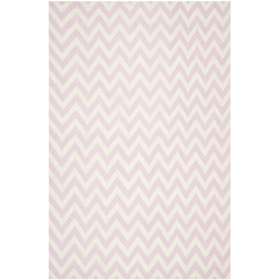 Dhurries Pink & Ivory Area Rug Rug Size: 6 x 9