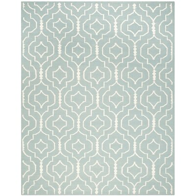 Dhurries Light Blue/Ivory Area Rug Rug Size: Rectangle 8 x 10
