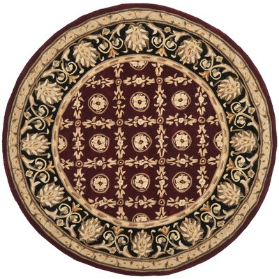 Naples Hand-Tufted Wool Burgundy/Black Area Rug Rug Size: Round 6