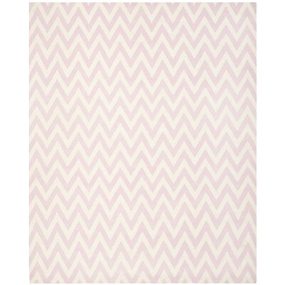 Dhurries Pink & Ivory Area Rug Rug Size: 8 x 10