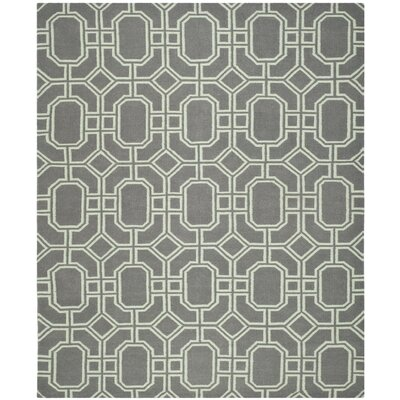 Dhurries Hand-Tufted Wool Gray/Ivory Area Rug Rug Size: Rectangle 8 x 10