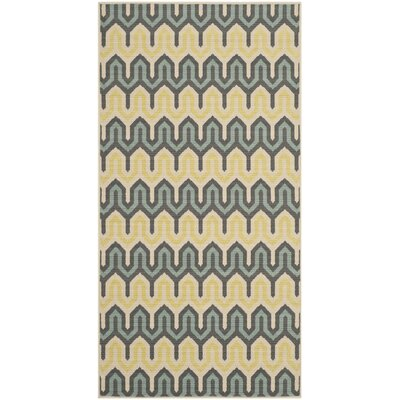 Kelston Green/Light Blue Outdoor Area Rug Rug Size: Rectangle 27 x 5