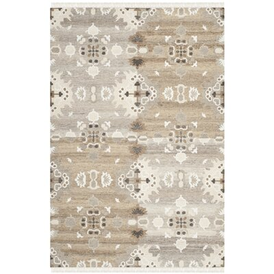 Natural Kilim Dhurrie White Area Rug Rug Size: 26 x 4