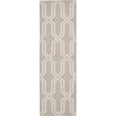 Dhurries Hand-Woven Wool Gray/Ivory Area Rug Rug Size: Runner 26 x 8