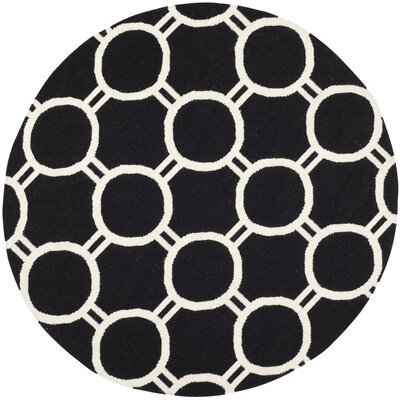 Dhurries Black/Ivory Area Rug Rug Size: Round 6
