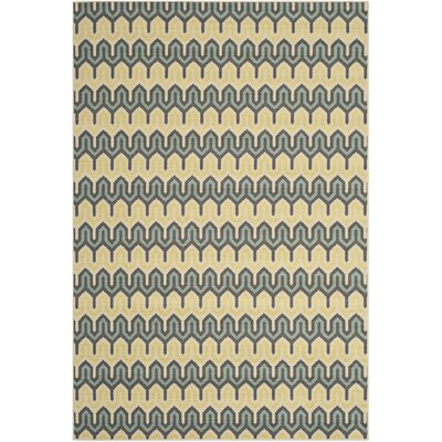 Hampton Green/Light Blue Outdoor Area Rug Rug Size: 67 x 96