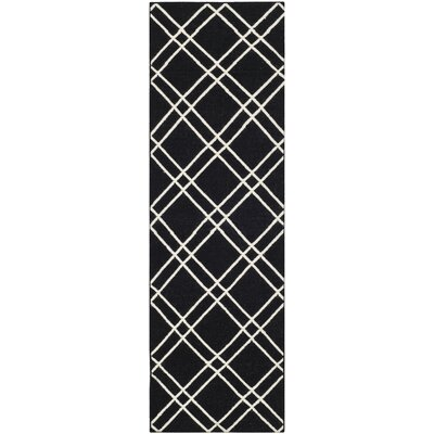 Dhurries Black/Ivory Area Rug Rug Size: Runner 26 x 8