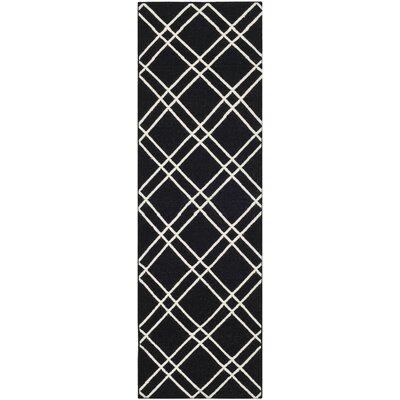 Dhurries Black/Ivory Area Rug Rug Size: Runner 26 x 8