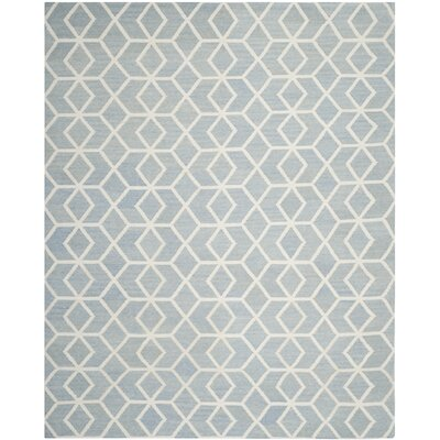 Dhurries Blue & Ivory Area Rug Rug Size: 9 x 12