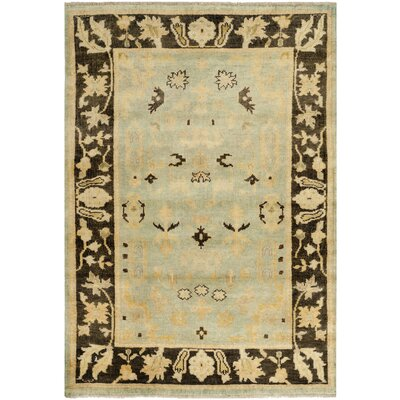 Oushak Light Blue/Brown Area Rug Rug Size: 9 x 12