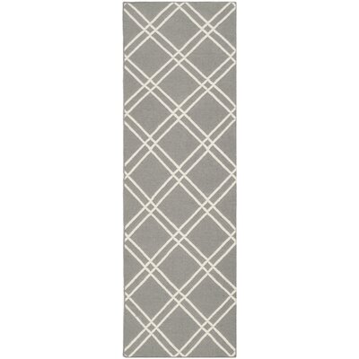Dhurries Grey/Ivory Area Rug Rug Size: Runner 2'6