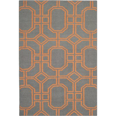 Dhurries Blue/Orange Area Rug Rug Size: 4' x 6'