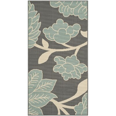 Hampton Grey Plants Outdoor Area Rug Rug Size: Rectangle 27 x 5