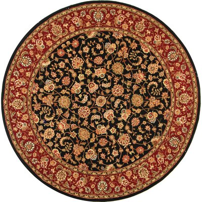 Persian Court Mashad Black / Red Oriental Rug Rug Size: Round 8