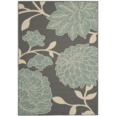 Hampton Grey Plants Outdoor Area Rug Rug Size: 51 x 77