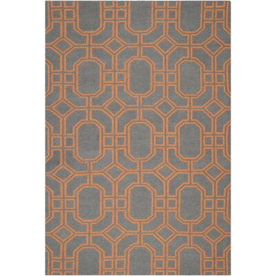 Dhurries Blue/Orange Area Rug Rug Size: 6 x 9