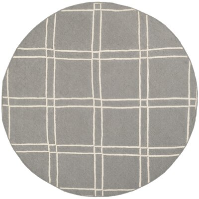 Dhurries Grey/Ivory Area Rug Rug Size: Round 6'