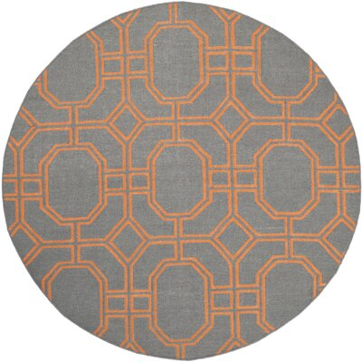 Dhurries Hand-Woven Wool Gray/Orange Area Rug Rug Size: Round 6