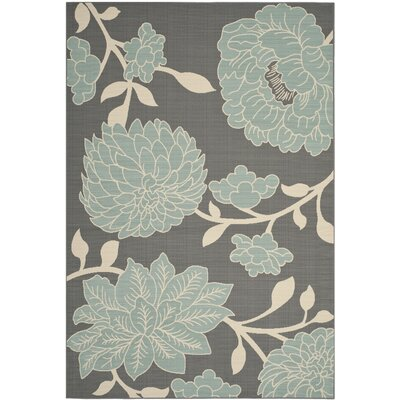 Hampton Grey Plants Outdoor Area Rug Rug Size: 67 x 96