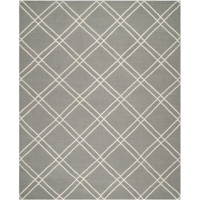 Dhurries Grey/Ivory Area Rug Rug Size: Rectangle 8' x 10'