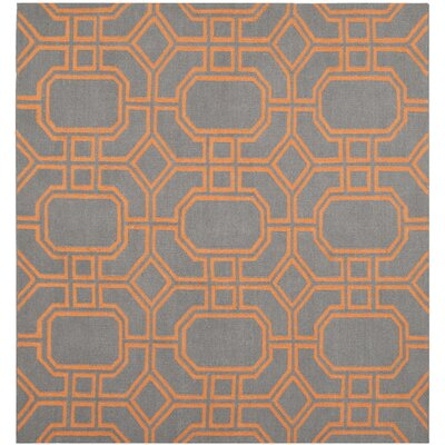 Dhurries Blue/Orange Area Rug Rug Size: Square 6