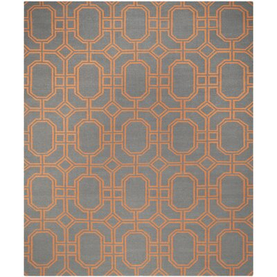 Dhurries Blue/Orange Area Rug Rug Size: 8 x 10