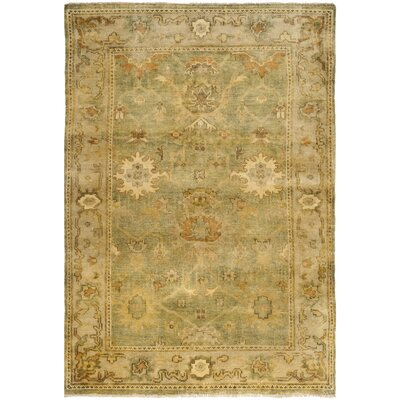 Oushak Green/Beige Area Rug Rug Size: 6 x 9