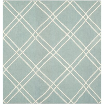 Dhurries Light Blue/Ivory Area Rug Rug Size: Square 6