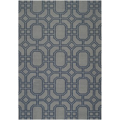 Dhurries Grey/Dark Blue Area Rug Rug Size: 6 x 9