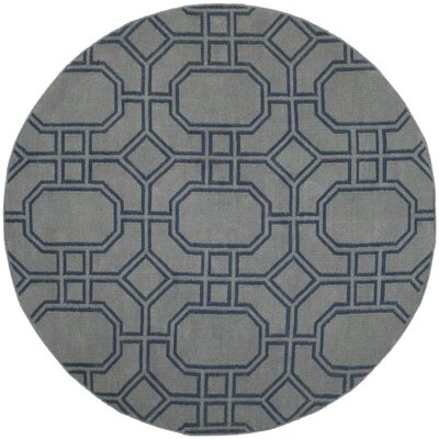 Dhurries Grey/Dark Blue Area Rug Rug Size: Round 6