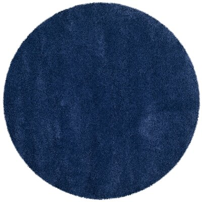 Holliday Navy Blue Area Rug Rug Size: Round 7