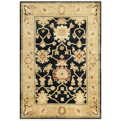Oushak Black/Light Gold Area Rug Rug Size: 6 x 9