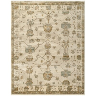 Oushak Ivory/Brown Area Rug Rug Size: 6 x 9