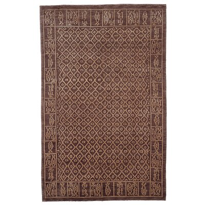 Tibetan Hand-Knotted Brown Area Rug Rug Size: Rectangle 5 x 76