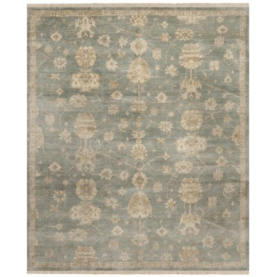 Oushak Blue/Ivory Area Rug Rug Size: 9 x 12