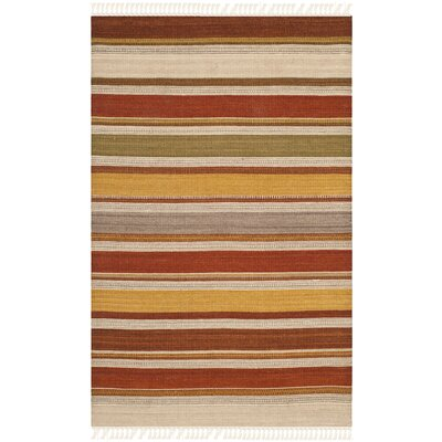 Striped Kilim Hand-Woven Wool Rust Brown/Beige Area Rug Rug Size: Rectangle 4' x 6'
