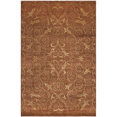 Tibetan Hand-Knotted Rust / Gold Area Rug Rug Size: Rectangle 10 x 14